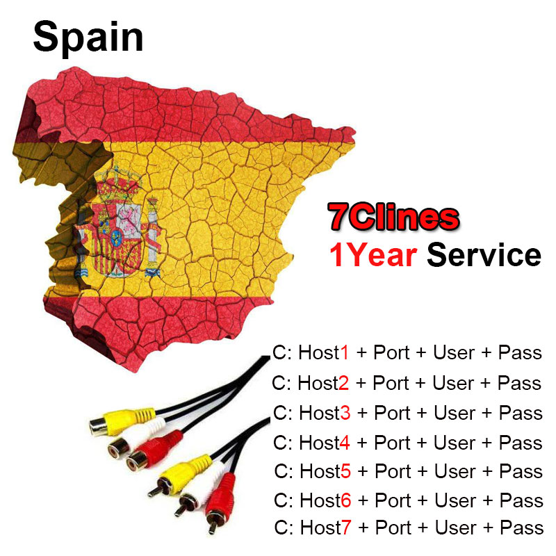 2018 Spain Portugal Cccam Valid 12month AM 7Clines Stable channels For V8 Super DVB-S2 S ...