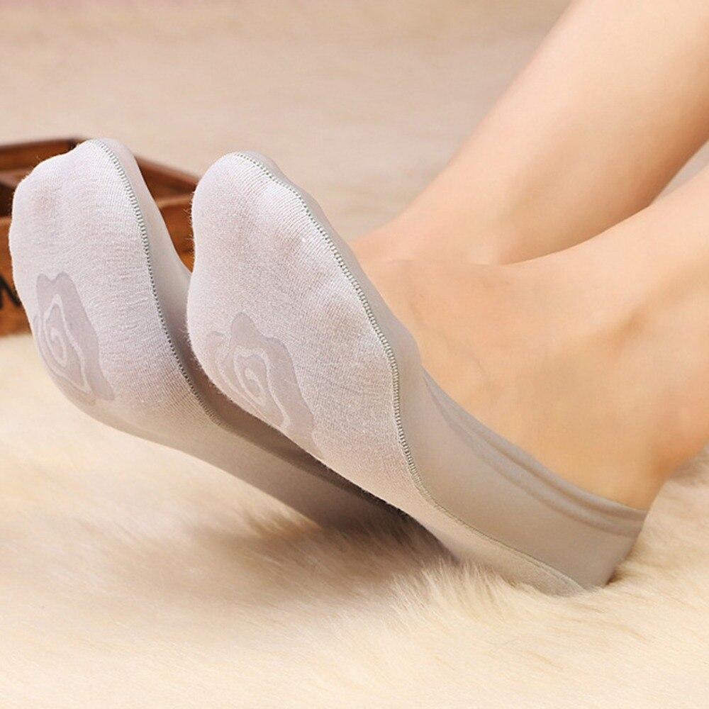 Дамы невидимый лодка носки для девочек Footsie тонкой кожи новые модные цветочные невидимый носок тапочки Нет Показать пешеходы летние шлепки ...