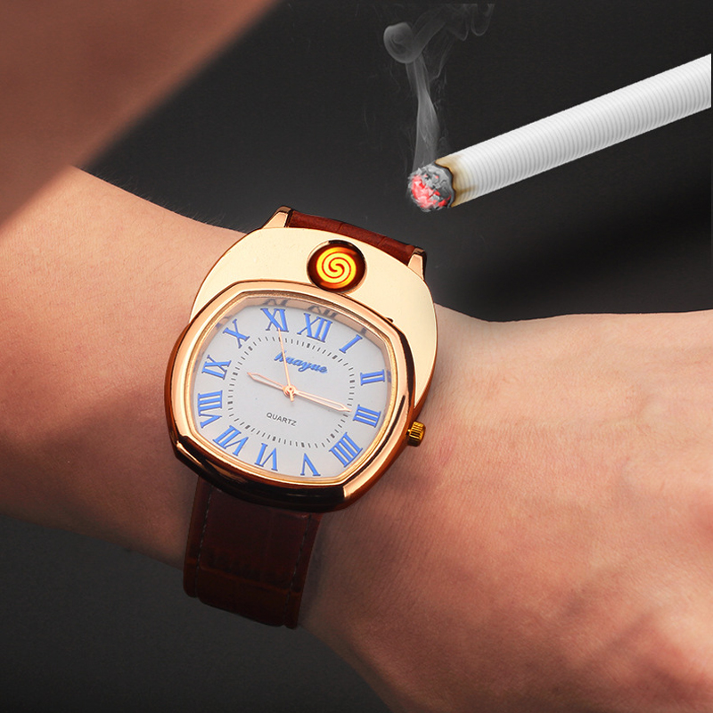 New Rechargeable Lighter Men Quartz Wristwatches Flameless Windproof USB Cigarette Lighter Watches Relogio Masculino Hodinky