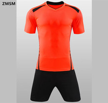 ZMSM Football Jerseys shorts 2017 Short sleeve V-neck Men's Soccer Sets Breathable Football uniform Training sportswear QD1674