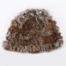 NEW Rabbit Fur Knitted Cap Ladies Knitting wool Fur Casual beanies caps cute Girls cap winter thick warm hats Russian Style