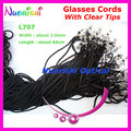100pcs L707 Black width 2.0mm eyeglass sunglass polyester neck string cord retainer strap eyewear lanyard holder with Clear Tips
