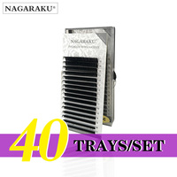 NAGARAKU 40 Trays/set J B C D Curl Length 7 15mm Mixed In One Tray Eyelash Extensions Individual Faux Mink Eyelash Lashes