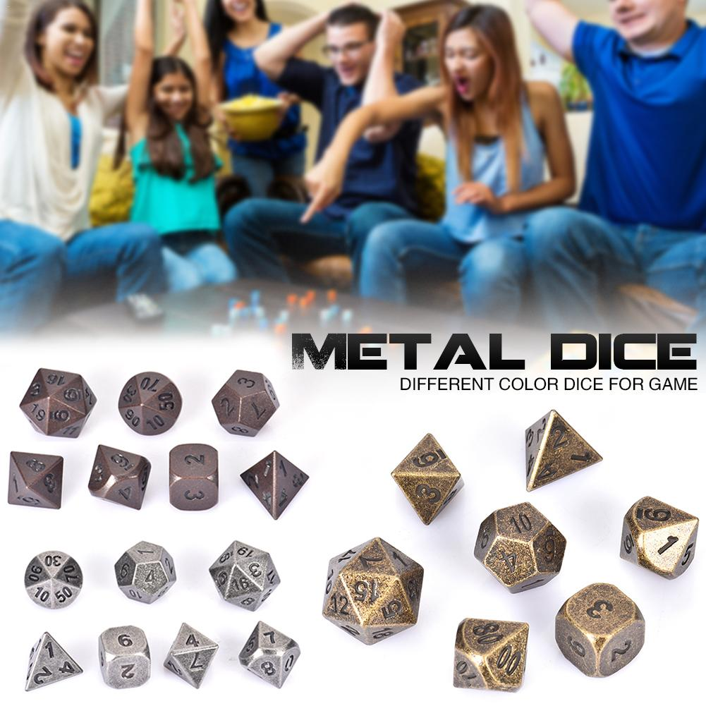 Dungeons & Dragons 7pcs/set Creative RPG Game Dice D&D Metal Dice DND Different Color