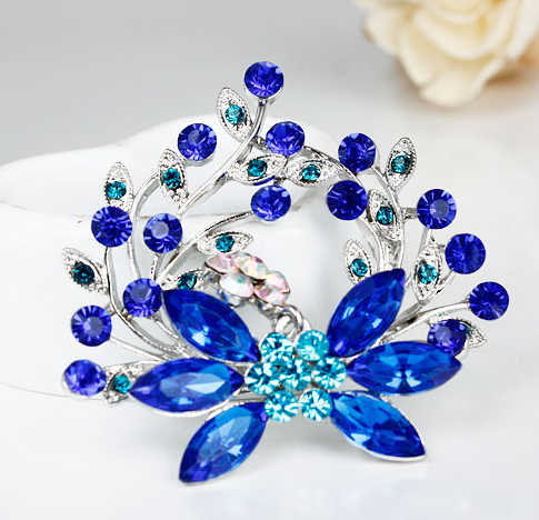 Fall New Fashion Female Exquisite Blue Plant Rhinestone Brooch,Brooch For Best Friend,Free Shipping