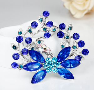 Fall New Fashion Female Exquisite Blue Plant Rhinestone Brooch,Brooch For Best Friend,Free Shipping(China)