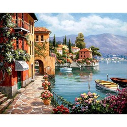 Unframed venice resorts seascape diy painting by numbers handpainted oil painting living room home wall decor.jpg 250x250