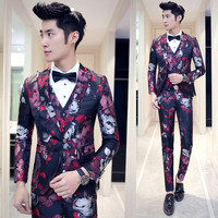 new jacket+vest+pants fashion casual men's suit personality Floral Slim Men groom suits Blazers single breasted Latest Coat Pant