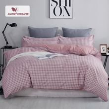SlowDream Grid Bedding Set Double Duvet Cover Bed Linen Sets Nordic Quilt Bedspread Of