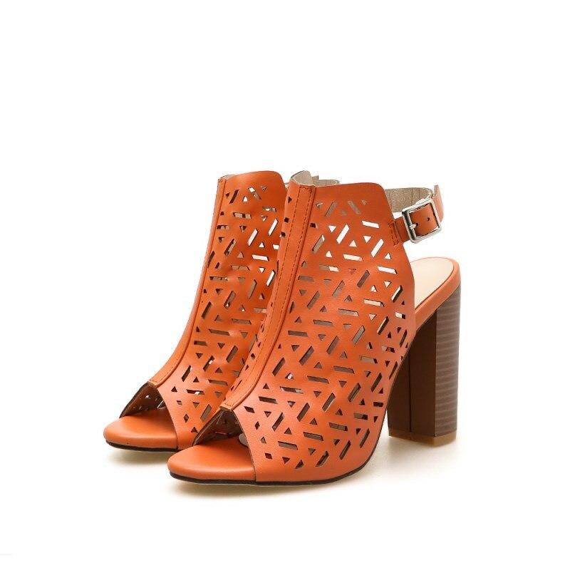 Creux Peep Noir Boucle orange De Épais Orange Hauts Femme Toe 40 Chaussures Mode Roms Robe Dames Partie Découpes Sandales Talons Solidcolor Femmes À w1qvYIC