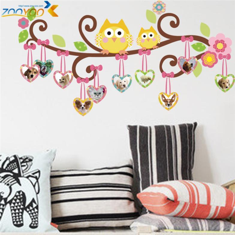 Diy owls photo frame flower vine vinyl removable wall for Diy photographic mural