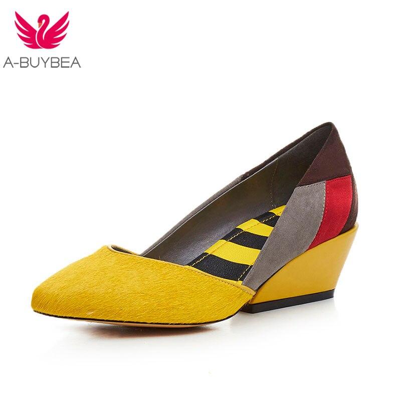 A-BUYEBA Amarelo Crina Dedo Apontado 5 cm de Espessura Das Mulheres do Salto Bombas Med Sapatos de Salto Alto Mulheres Sapatos de Salto Alto
