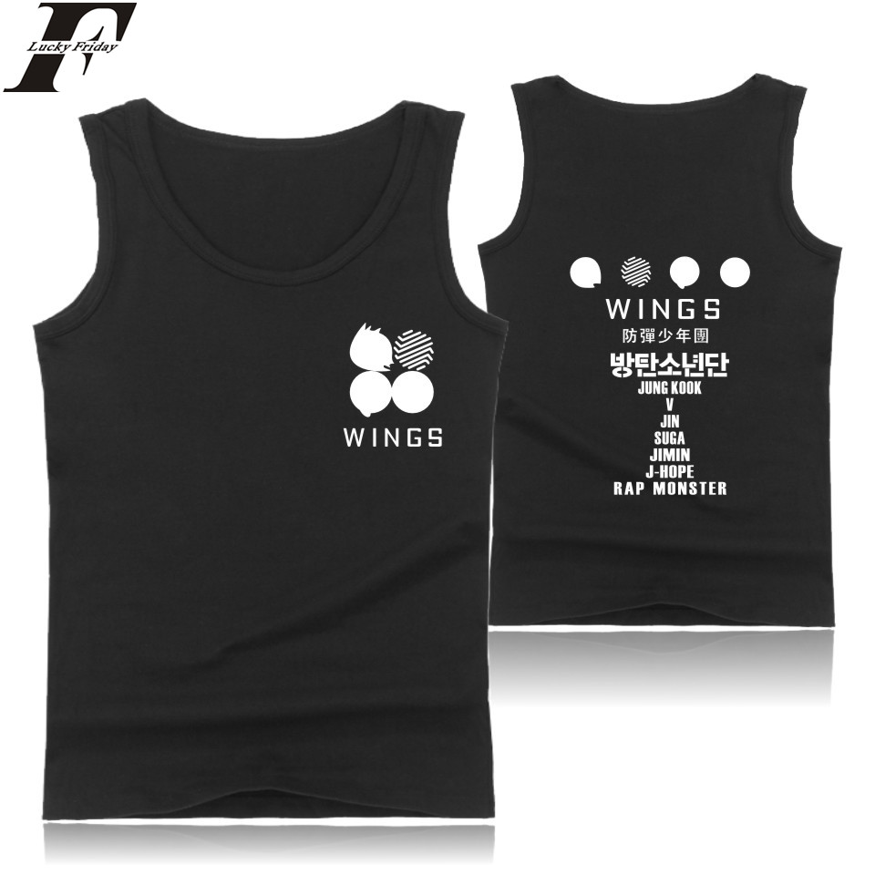 LUCKYFRIDAYF Korean KPOP Sleeveless   Tank     Top   mens Summer Casual Bodybuilding   Tank     Top   Popular Kpop Banatan Wings Album Vest