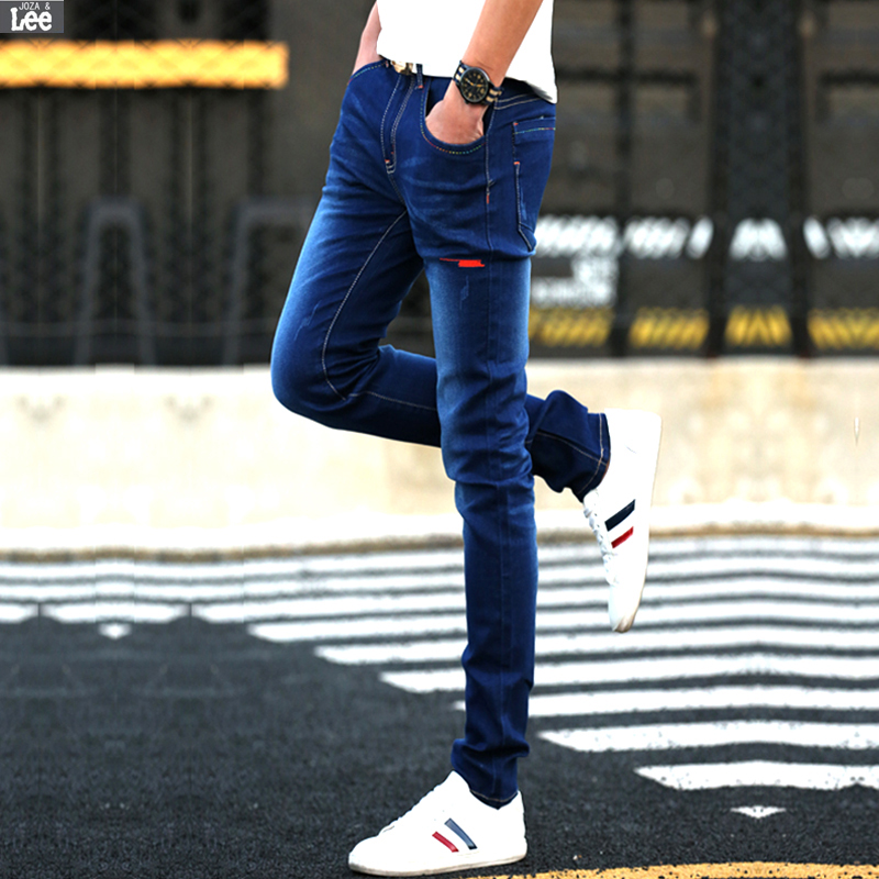 2016 New Men Zipper Fly Light Slim Mid Softener Pencil Pants Midweight Clothing Joker Casual Cotton