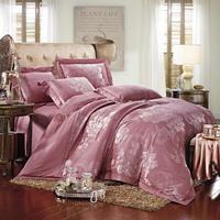 ใหม่หรูหราjacquardผ้าไหมผ้าปูเตียงถั่วแดงซิล