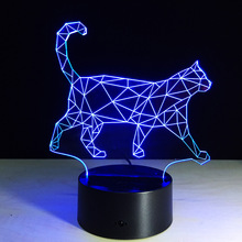 The new walking cat 3D Nightlight acrylic stereoscopic LED colorful lamps plug-in gradient atmosphere lamp