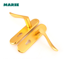 Gold Color Durable Aluminum Lock Handle Door Lock Cylinder Front Back Lever Latch Home Security with Keys high quality stainless steel door lock bolt lock lever handle door lock lever home security handle interior lock keys k113