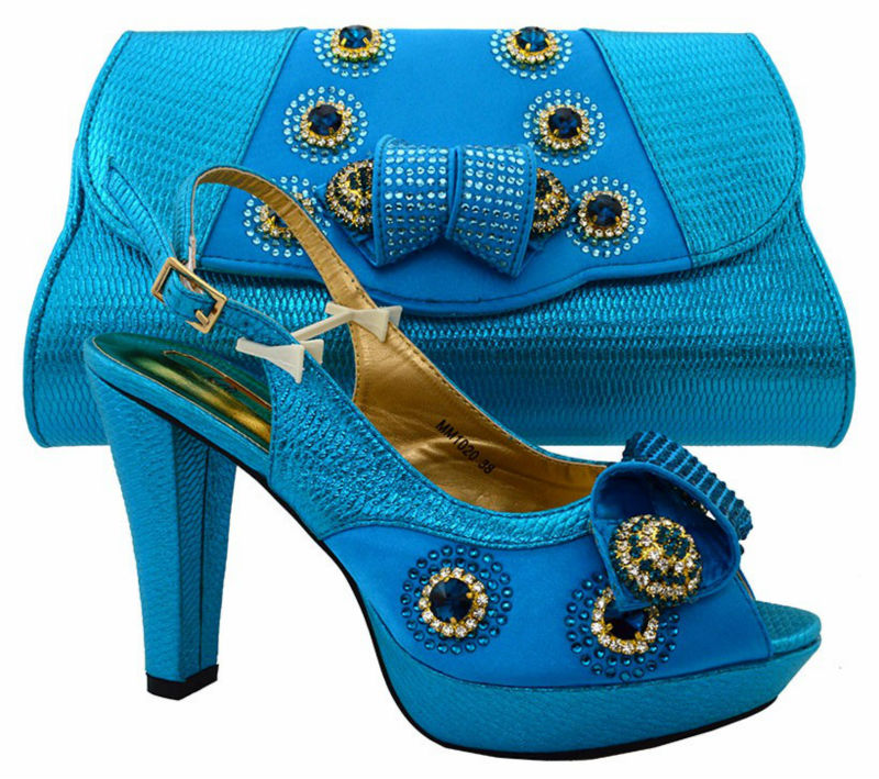 ФОТО 2017 Fashion Italian African Women's Shoes And Matching Bag Set With Stones Shoes And Bags Set To Match For Party MM2203