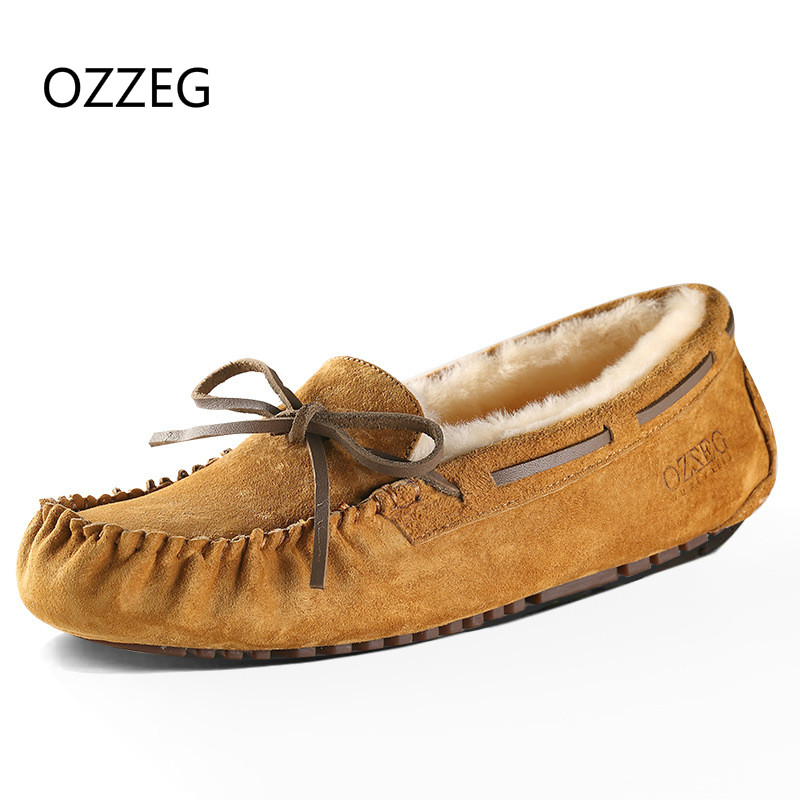 Women Genuime Leather Flats Soft Warm Winter Shoes Real Fur Casual Loafers Ladies Moccasins High Quality Flat Shoes for Women original handmade autumn women genuine leather shoes cowhide loafers real skin shoes folk style ladies flat shoes for mom sapato