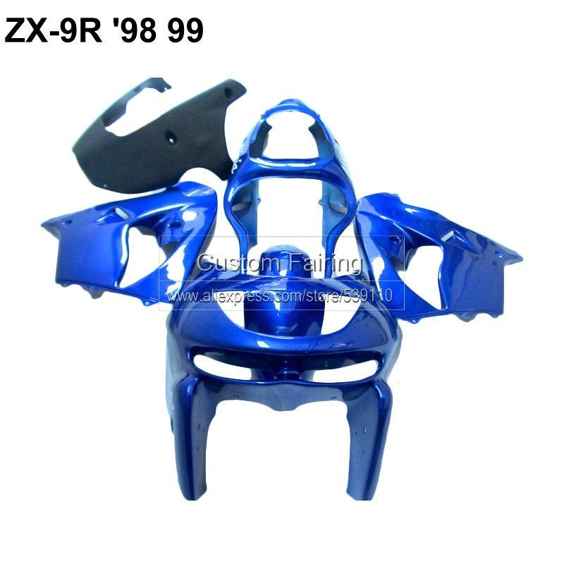 Aftermarket parts for Kawasaki ZX9R zx - 9r 1998 - 1999 Ninja 99 98 blue black fairing kit fairings xl14