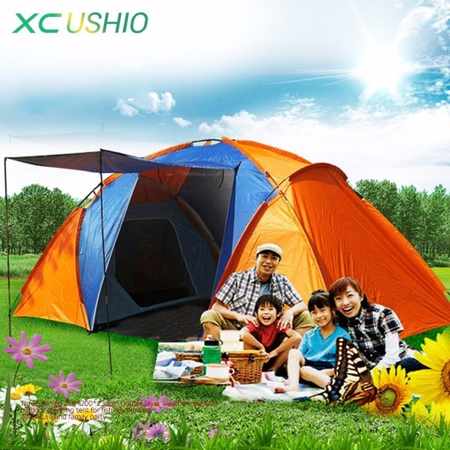 Double Layer Waterproof Big Camping Tent Two Bedroom Room Tent House for 5-8 Person Family Outdoor Party 420x220x175cm 5.3Kg