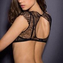 Lace halter sexy bra garter set high quality transparent