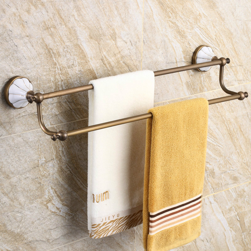 Retro bathroom hardware accessories copper European bathroom antique towel bar double towel hanging rod LO829433