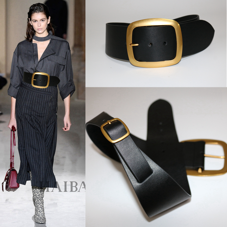 Brand Designer 2019 Women New Cowskin Real Leather Waistband Belts Fashion Black Wide Cummerbunds for Dress Coats Sweater