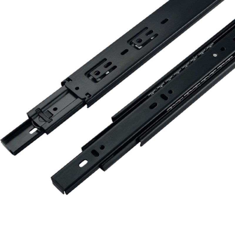 1 Pair HG45B Black color Three Sections Drawer Track Slide Guide Rail accessories for Furniture Slide Hardware Fittings free shipping drawer track drawer slide three rail drawer guide rail slide rail furniture hardware fittings slipway