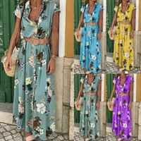 Stylish Hot Sale Women Boho V-neck Button High-waist Belt Floral Print Short Sleeve Long Dress Lady Summer Beach Clothing S-XXL