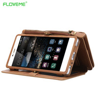 FLOVEME Multi Functional Leather Case For Huawei P9 Card Slot Luxury Vintage Flip Stand Wallet Business