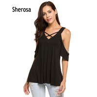 Sherosa Women Summer Cross V Neck Short Sleeve Cold Shoulder Top Casual Sexy Boho Pleated Backless