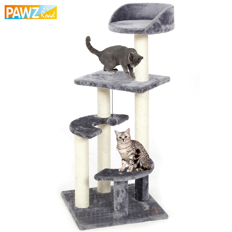 Pawz Road Domestic Delivery H100 Cat Climbing Tree Toys Scratching Solid Wood Cats Climb Frame Good Quality <font><b>Pet</b></font> Supplies 3Colors
