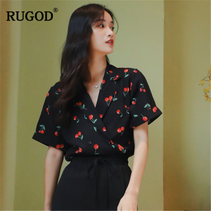 RUGOD 2019 New Summer Women Cherry Print Fashion Shirt Notched Collar V-neck Loose Female Blouse Gentle Temperament Stylish Tops