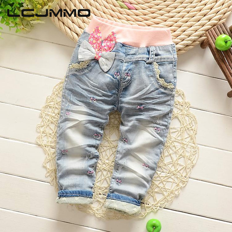 цена на LCJMMO 2017 New Arrival Butterfly Knotted Baby Girl jeans Children Casual Long Pants Kid Girls Denim Pants New Trousers 85-110cm