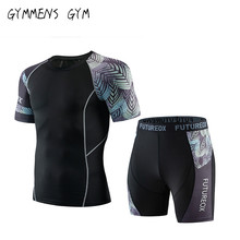 Summer new miracle leaf compression T-shirt suit mens brand sportswear 3D fitness clothing