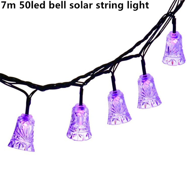 7m 50led Bell Solar String Light Outdoor Waterproof Fairy