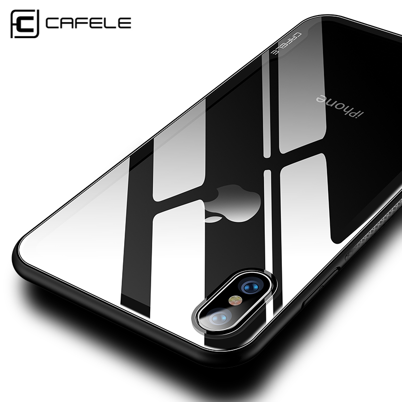 CAFELE Luxury Case for iphone X 10 Tempered Glass TPU Edge Case for iphone X Transparent Ultra Smooth Light Unseamed Cover