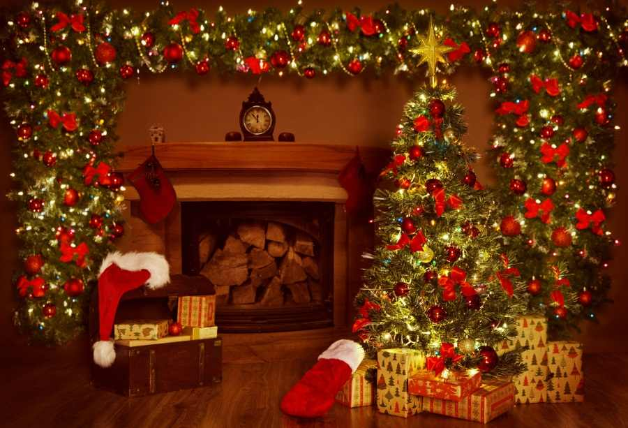 Laeacco Fireplace Christmas Tree Gift Scene Baby Photography