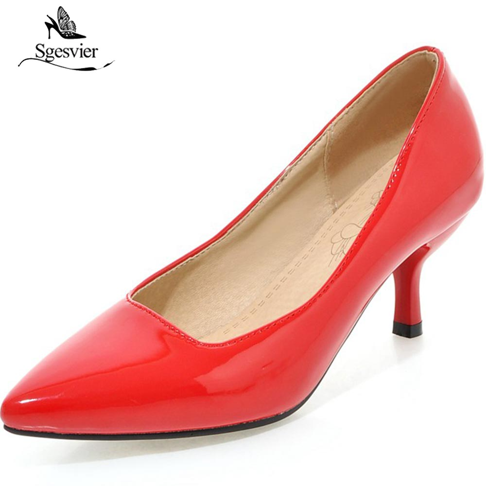 SGESVIER New Women Pumps Fashion Pointed Toe Patent Leather Stiletto High Heels Shoes Spring Summer Wedding Shoes Woman OX280 цена