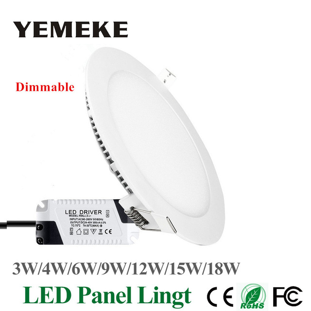 Dimmable LED Panel Light Ultra Thin Ceiling Recessed Downlight 3w 4w 5w 6w 9w 12w 15w 18w Round LED Spot Light AC85-265V