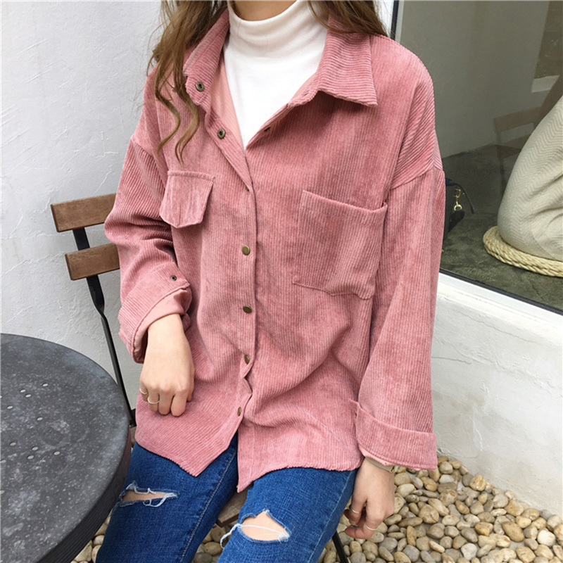 New Vintage Long Sleeve Shirts Spring and autumn Women Solid Batwing Sleeve Blouse Warm Corduroy blouses Women Tops 11