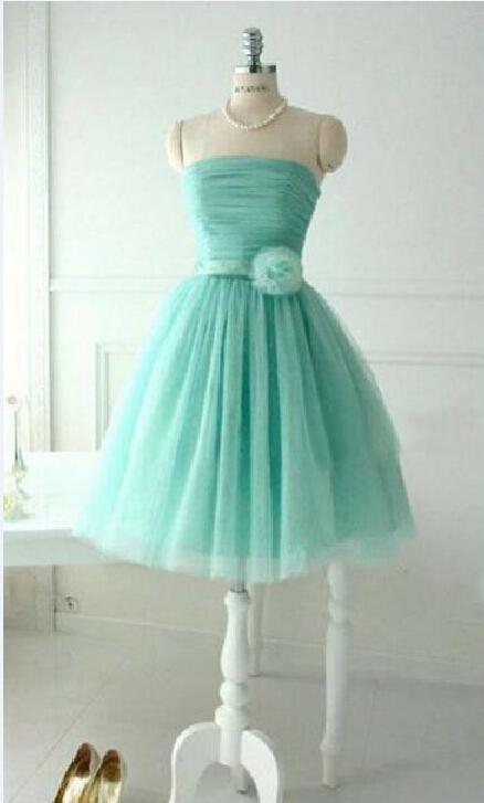 Real Photo Strapless Flower Bow Mint Green Tulle Short