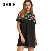 SHEIN Yoke Sheer Back Smock Dress Black Sexy Women Floral Embroidery Summer Dresses 2017 Cut Out