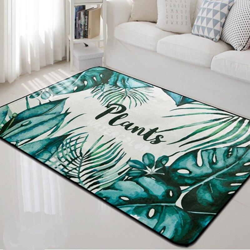 Tropical Green Plants Thick Carpet Rug Nordic Style Carpet For Living Room Bedroom Decor Rectangular Sofa