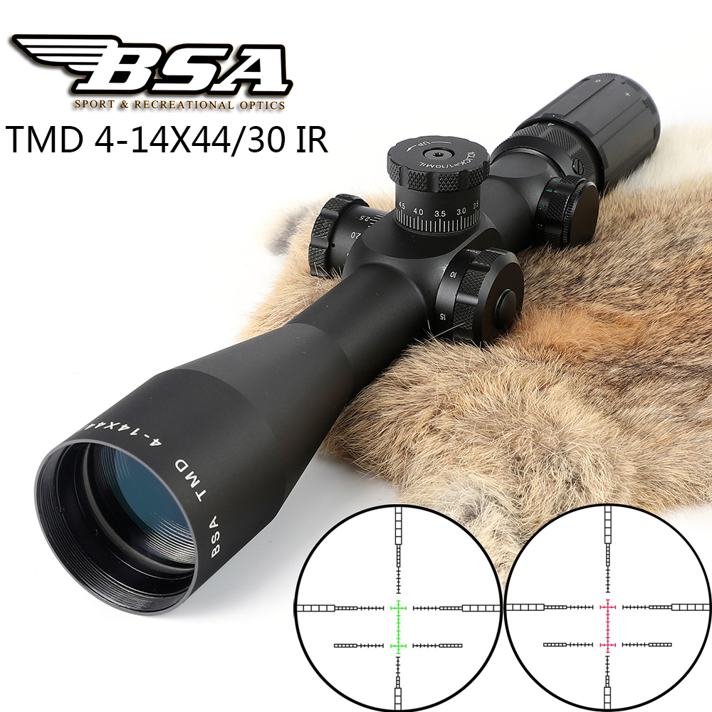 BSA TMD 4-14X44 IR First Focal Plane FFP Rifle Scopes Side Parallax Glass Etched Reticle Illuminated Hunting Tactical Riflescope marcool evv 6 24x50 sfirgl first focus plane tactical rifle scope