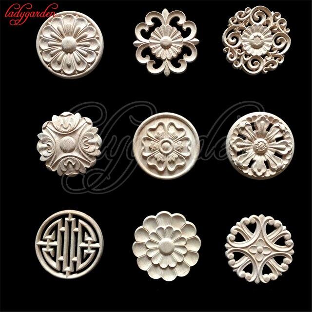 4 Cm Flor Madera Tallada Apliques De Decorativos Para Muebles Gabinete Molduras Sin