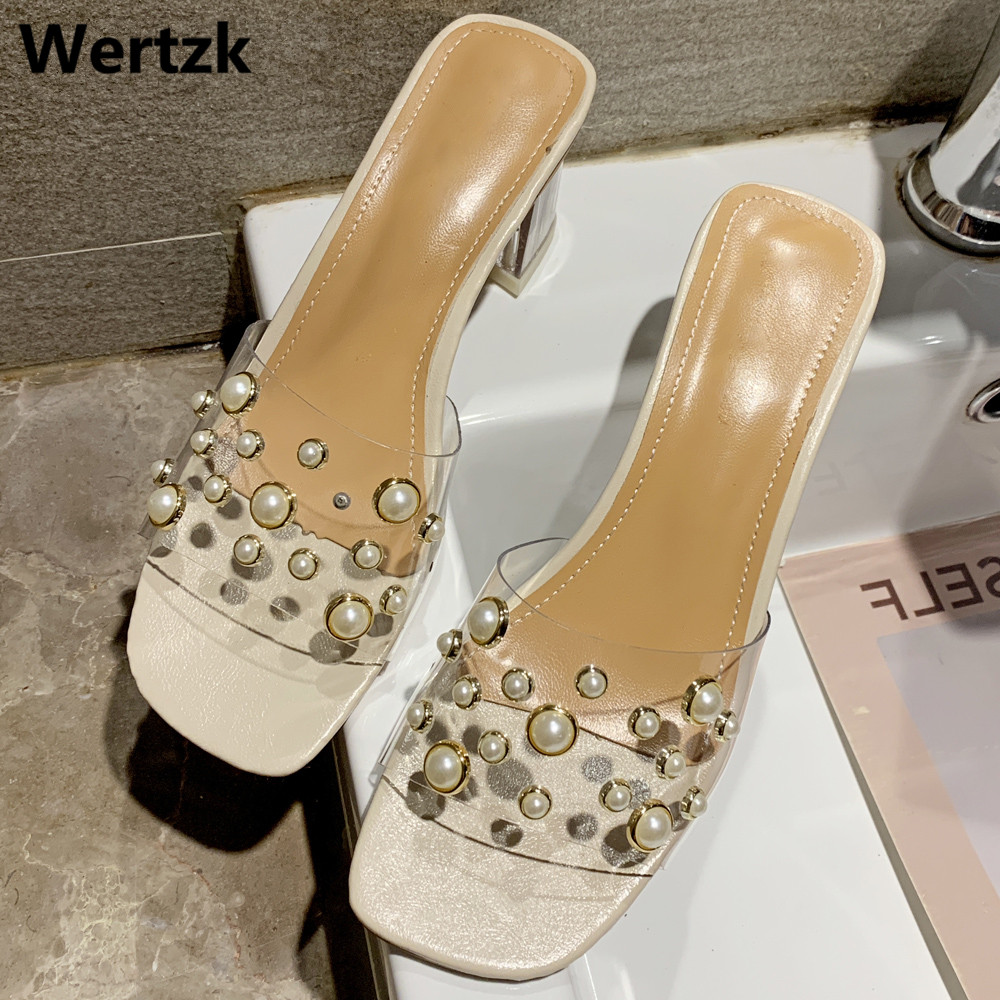 <font><b>Women</b></font> <font><b>Slippers</b></font> Summer <font><b>High</b></font> <font><b>Heels</b></font> <font><b>Slippers</b></font> Fashion Transparent PVC <font><b>Shoes</b></font> <font><b>Women</b></font> <font><b>Sexy</b></font> Beach Party Office Slides Size 35-39 E487 image