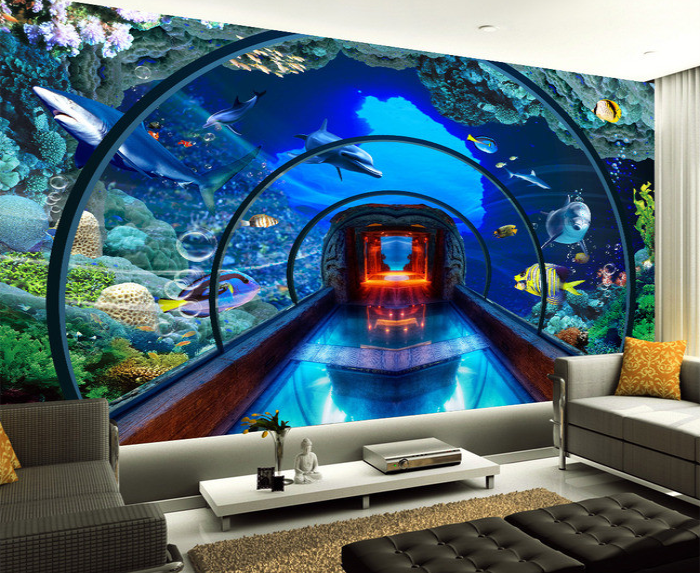 Online Shop Underwater World Aquarium Background Wall Painting The Living Room Bedroom Sofa Children Mural Wallpaper Adhesive