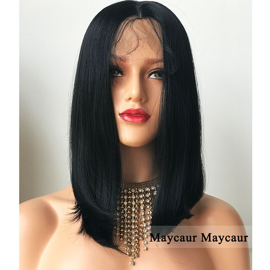 Black Color Lace Front Wigs Long Bob Hair Wig with Baby Hair Natural Straight Synthetic  ...